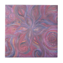 purple red abstract floral pattern ceramic tile