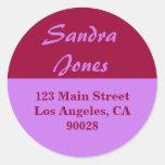 purple red address label round sticker