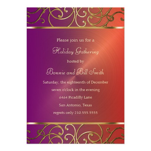 Purple Red and Gold Holiday Party Invitation