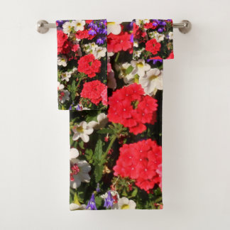 Purple, Red, and White Annual Flowers Bath Towel Set