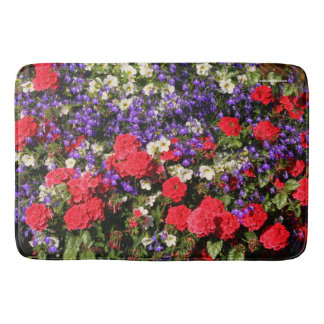 Purple, Red, and White Annual Flowers Bathroom Mat