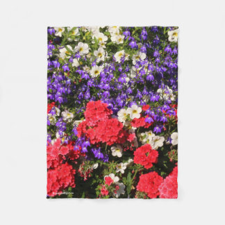 Purple, Red, and White Annual Flowers Fleece Blanket