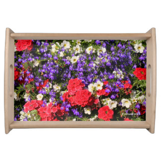 Purple, Red, and White Annual Flowers Serving Tray