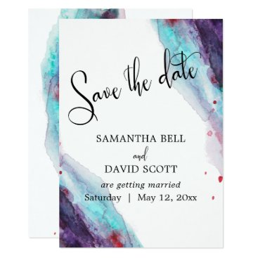 Beach Themed Purple Red Aqua Watercolor Modern Save the  Date Card