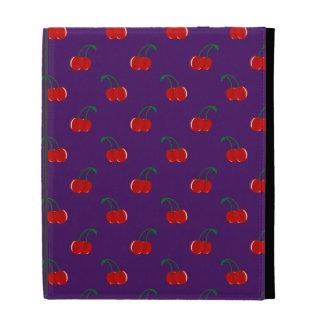 Purple red cherry pattern iPad folio case