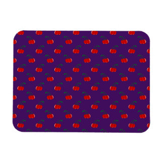 Purple red cherry pattern rectangle magnet