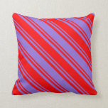 [ Thumbnail: Purple & Red Colored Lined/Striped Pattern Pillow ]