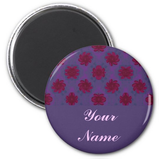 Purple Red floral pattern Magnet