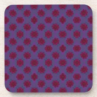 purple red flower pattern drink coaster
