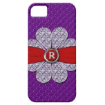 Purple & Red Glitter, Diamond Flower Monogram iPhone 5 Covers