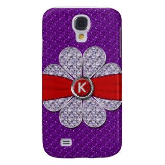 Purple & Red Glitter, Diamond Flower Monogram Galaxy S4 Cover