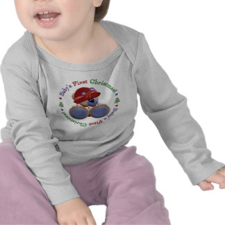 Purple Red Hat Teddy Bear Baby's First Christmas Tee Shirts