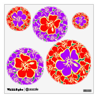 Purple Red Hawaiian Hibiscus Floral Tropical Luau Wall Sticker