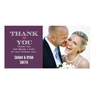 Purple Red Heart Wedding Photo Thank You Cards Photo Card