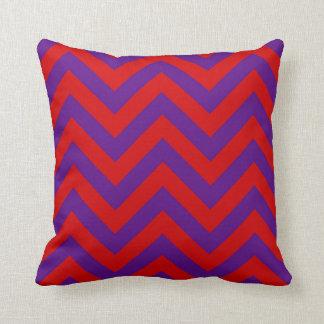 Purple, Red Large Chevron ZigZag Pattern Pillow