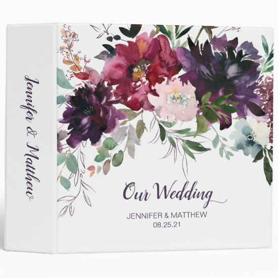 Purple Red Mauve Pink Floral Wedding Album 3 Ring Binder