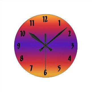 Purple Red Orange Gradient Stripes Round Clock
