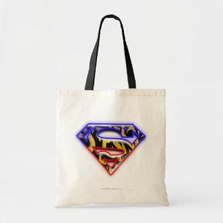 Purple-Red Outline Graffiti Superman Logo Tote Bags