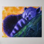 Purple Red Panda Print