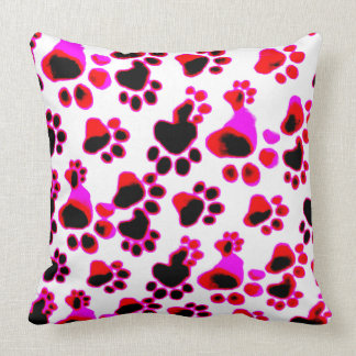 Purple Red Paws Throw Pillow