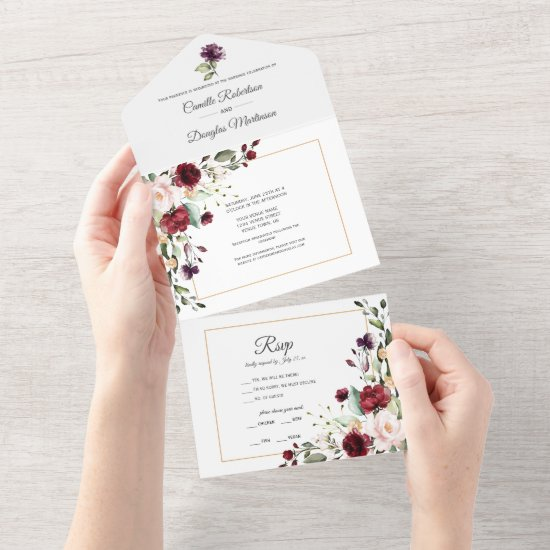 Purple, Red, Pink, Gold Floral   All In One Invitation