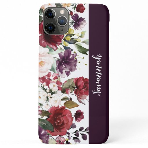 Purple Red Pink Watercolor Floral Monogram iPhone 11 Pro Max Case