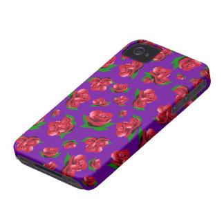 Purple & Red Rose Pattern iPhone 4 Case