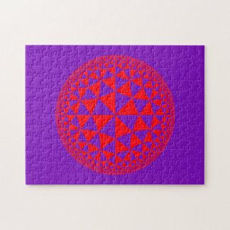 Purple & Red Triangle Filled Mandala Jigsaw Puzzle