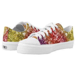 Purple, Red, Yellow Watercolor Paint Splatter Low-Top Sneakers