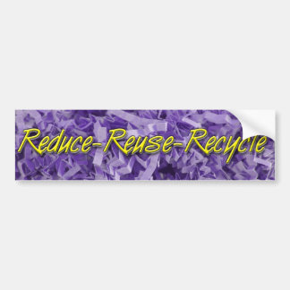 Purple Reduce-Reuse-Recycle Bumper Sticker