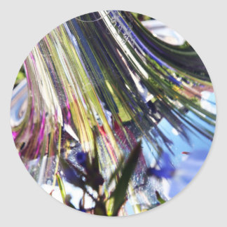 Purple Reflections In Brass Classic Round Sticker