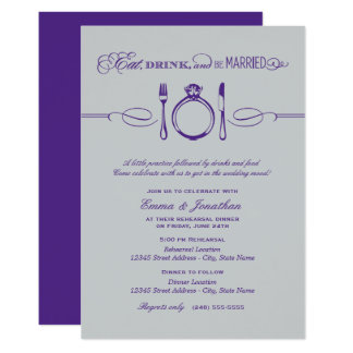 Purple Rehearsal Dinner | Eat Drink and Be Married Card