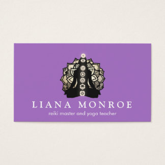 Purple Reiki and Yoga Teacher Lotus and Chakra Business Card