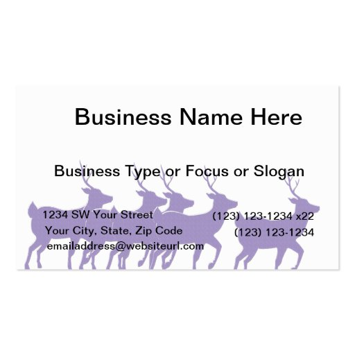 purple reindeer across the bottom Double-Sided standard business cards (Pack of 100)