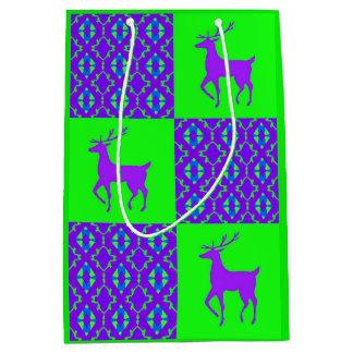 Purple reindeer medium gift bag