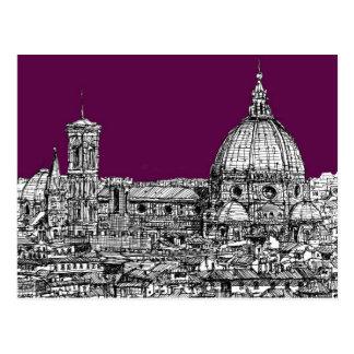 Purple renaissance drawing post card