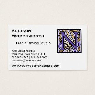 Purple Renaissance Illuminated Manuscript N Business Card