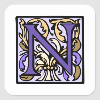 Purple Renaissance Illuminated Manuscript N Square Sticker