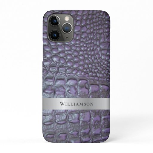 Purple Reptile Digital Leather Silver Metal iPhone 11 Pro Case