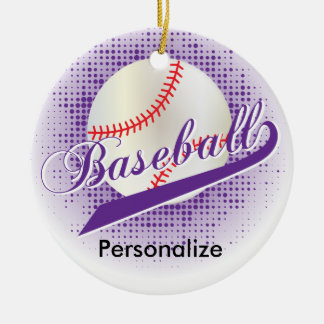 Purple Retro Baseball Style Ceramic Ornament
