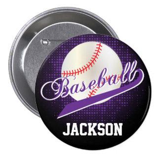 Purple Retro Baseball Style Pinback Button