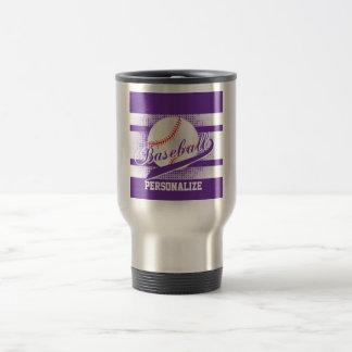Purple Retro Baseball Style Travel Mug