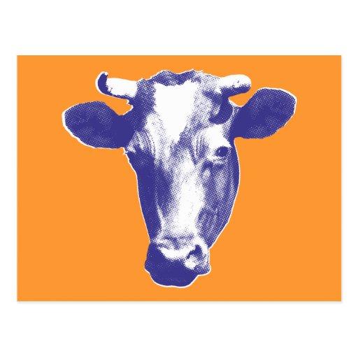Purple Retro Cow Graphic Postcard