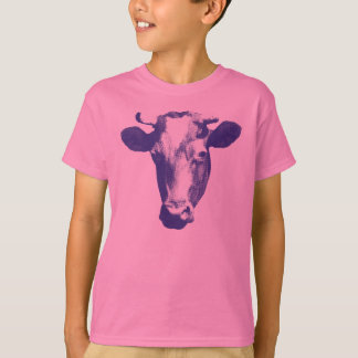 Purple Retro Cow Graphic T-Shirt