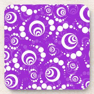 Purple Retro Crop Circles Coaster