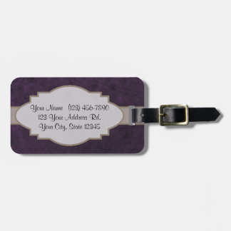 Purple Retro Floral Abstract Nameplate Bag Tag
