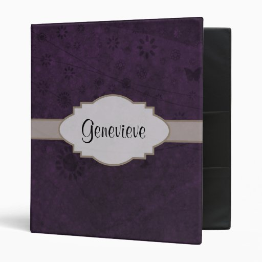 Purple Retro Floral Abstract Nameplate Binders