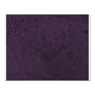 Purple Retro Flowers and Butterflies Abstract Card