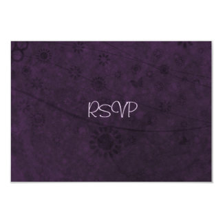 """Purple Retro Flowers and Butterflies Abstract 3.5"""" X 5"""" Invitation Card"""