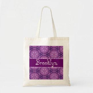 Purple Retro Flowers Custom Name B543 Budget Tote Bag
